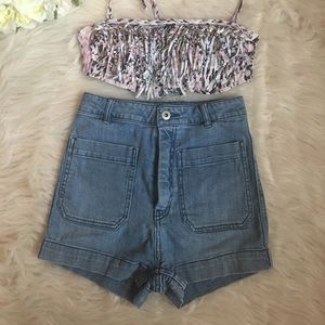 H&M very high wasted shorts.